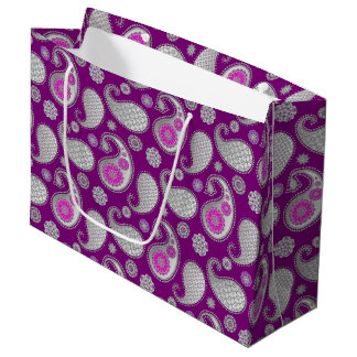 Paisley pattern, Silver Gray / Grey on Deep Purple Large Gift Bag