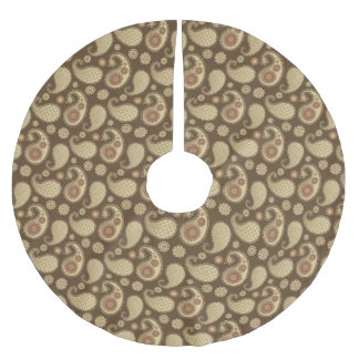 Paisley pattern, Soft Gold on Chocolate Brown Brushed Polyester Tree Skirt