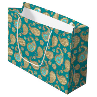 Paisley pattern, Soft Gold on Turquoise Large Gift Bag