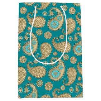 Paisley pattern, Soft Gold on Turquoise Medium Gift Bag