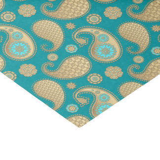 Paisley pattern, Soft Gold on Turquoise Tissue Paper