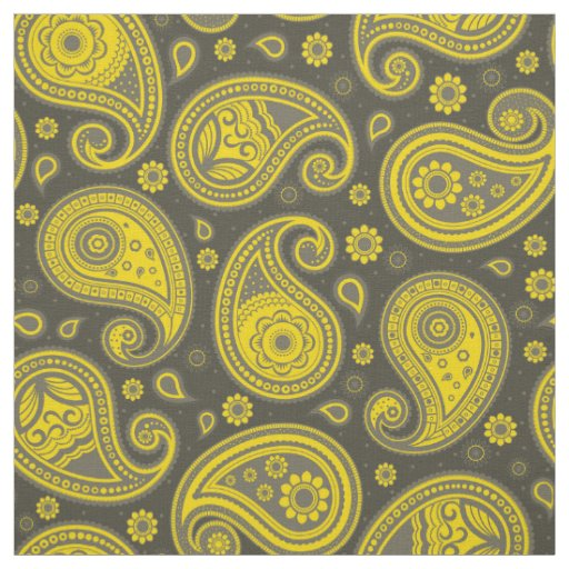 Paisley pattern yellow and grey fabric