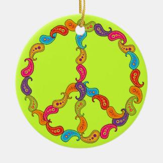 Paisley Peace Round Ceramic Decoration
