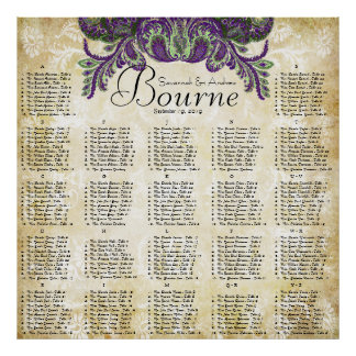 Paisley Peacock Purple Gold Wedding Seating Chart