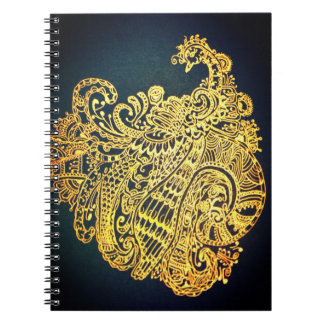 Paisley peacock spiral notebook