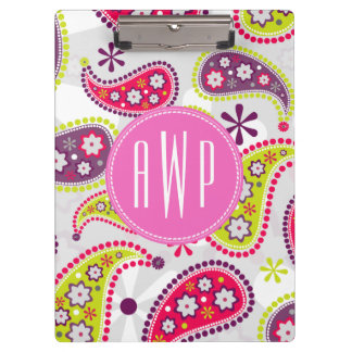 Paisley & Pink Monogram Clipboards