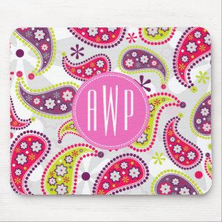 Paisley Pink Monogram Mousepads