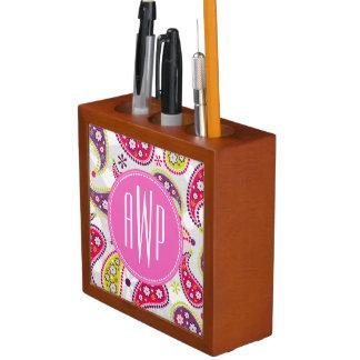 Paisley & Pink Monogram Pencil/Pen Holder