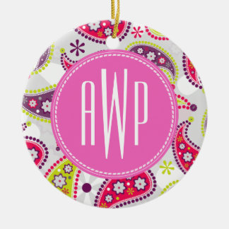 Paisley & Pink Monogram Round Ceramic Decoration