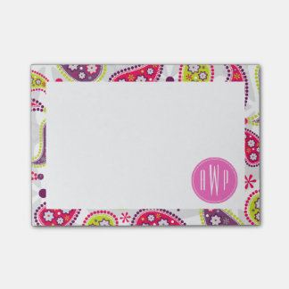 Paisley & Pink Monogram Sticky Notes