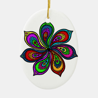 Paisley Pinwheel of Colors Christmas Ornaments