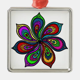 Paisley Pinwheel of Colors Silver-Colored Square Decoration