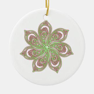 Paisley Pinwheel Pink Green Round Ceramic Decoration