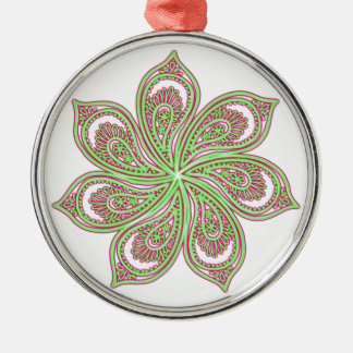 Paisley Pinwheel Pink Green Silver-Colored Round Decoration