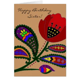 Paisley Poppy Ukrainian Folk Art Greeting Card