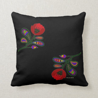 Paisley Poppy Ukrainian Folk Art Pillow