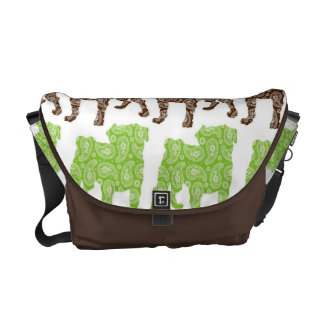 Paisley Pugs Brown and Green Messenger Bags