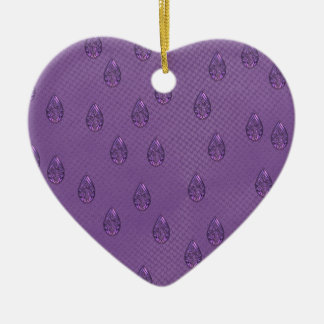 Paisley Purple Tears Ceramic Heart Decoration