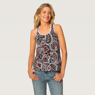 Paisley Red & Black Tank Top