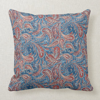 Paisley Red, White and Blue Faux Denim Cushion