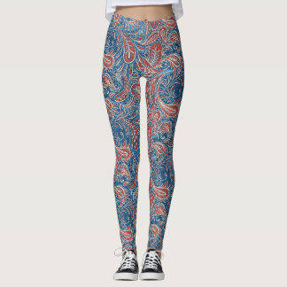 Paisley Red, White and Blue Faux Denim Leggings