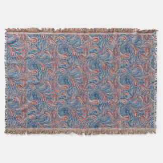 Paisley Red, White and Blue Faux Denim Throw Blanket