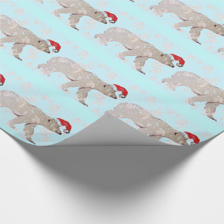 Paisley Santa Polar Bears Wrapping Paper