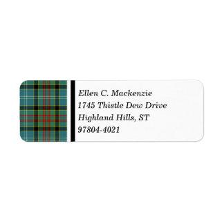 Paisley Scotland District Tartan Return Address Label