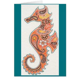 Paisley Seahorse Card