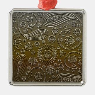 Paisley Silver-Colored Square Decoration