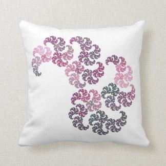 Paisley Swirl Fractal Design in Pink, Gray & White Cushion