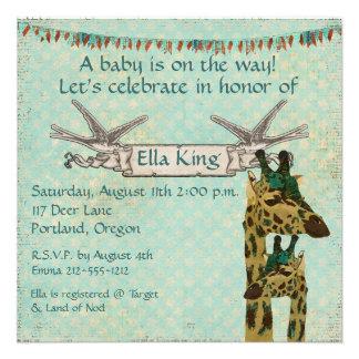 Paisley Teal Giraffes Blue Baby Invitation