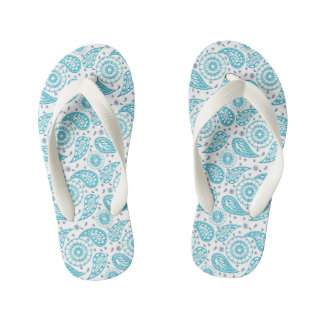 Paisley teal pattern. kid's flip flops