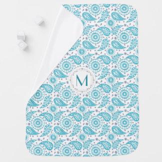 Paisley teal pattern. monogram. pramblankets