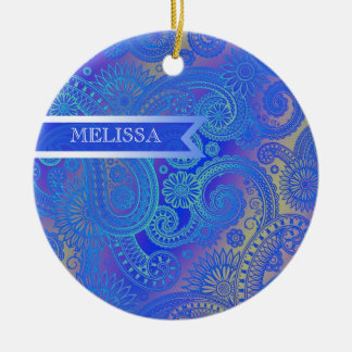 Paisley w/Ribbon Blue Round Ceramic Decoration