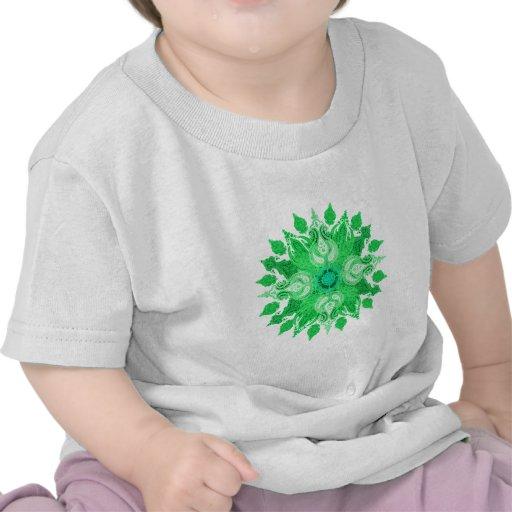Paisley wheel green sun flower t-shirt
