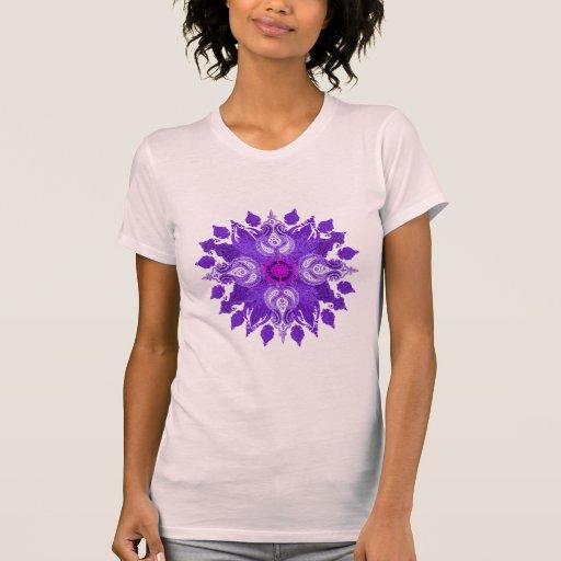 Paisley wheel violet mandala sun flower tee shirts