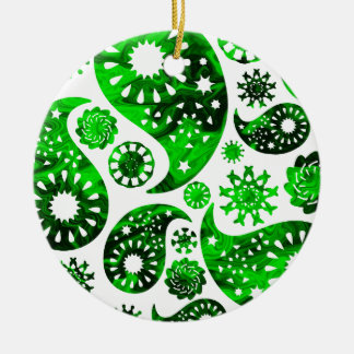 Paisley with Green Swirl Pattern. Ornament