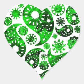 Paisley with Green Swirl Pattern. Heart Sticker