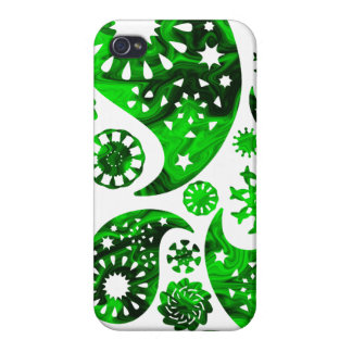Paisley with Green Swirl Pattern iPhone 4 Covers