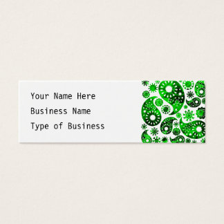 Paisley with Green Swirl Pattern. Mini Business Card
