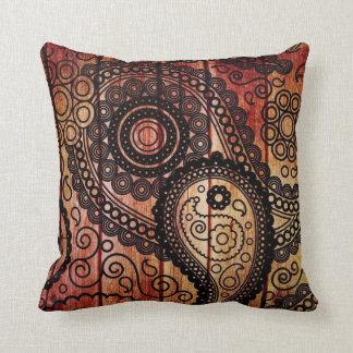paisley wood panels pillow cushion