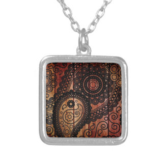 paisley wood panels silver plated necklace
