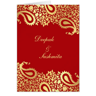 Paisleys Elegant Indian Wedding Folded Invitation