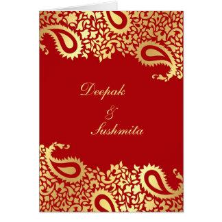 Paisleys Elegant Indian Wedding Folded Invitation Greeting Card