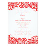 Paisleys Wedding with Programs Flat Invitation 13 Cm X 18 Cm Invitation Card
