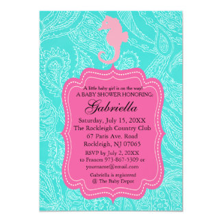 Paisly Blue & Pink Seahorse Baby Shower Invitation