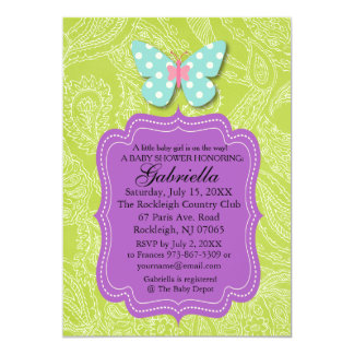 Paisly Green with Butterfly Baby Shower Invitation