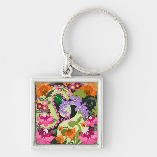 Paisly shapes & Damask flowers Keychain w Monogram