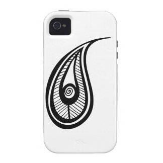 Paisly Teardrop Illustration Silhouette Feather Case For The iPhone 4